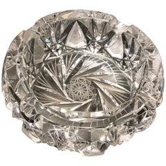 Round Bohemian Crystal Ashtray