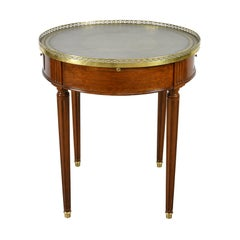Round Bouillotte Table in Mahogany with Green Tooled Leather Top, France