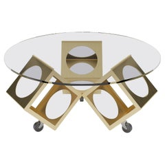 Round Box Table on Castors, Designed by Laurie Beckerman