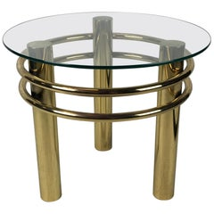 Round Brass 1980s Side Table