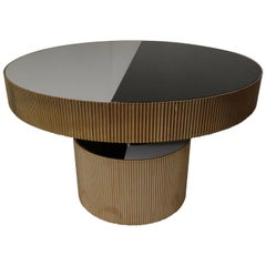 Round Brass and Colored Glass Italian Extensible Table, 2018