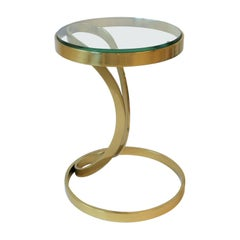 Brass and Glass Side or Drinks Table