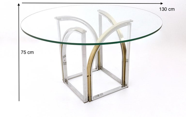 Round Brass and Steel Dining Table by Romeo Rega with Glass Top, Italy, 1970s For Sale 6