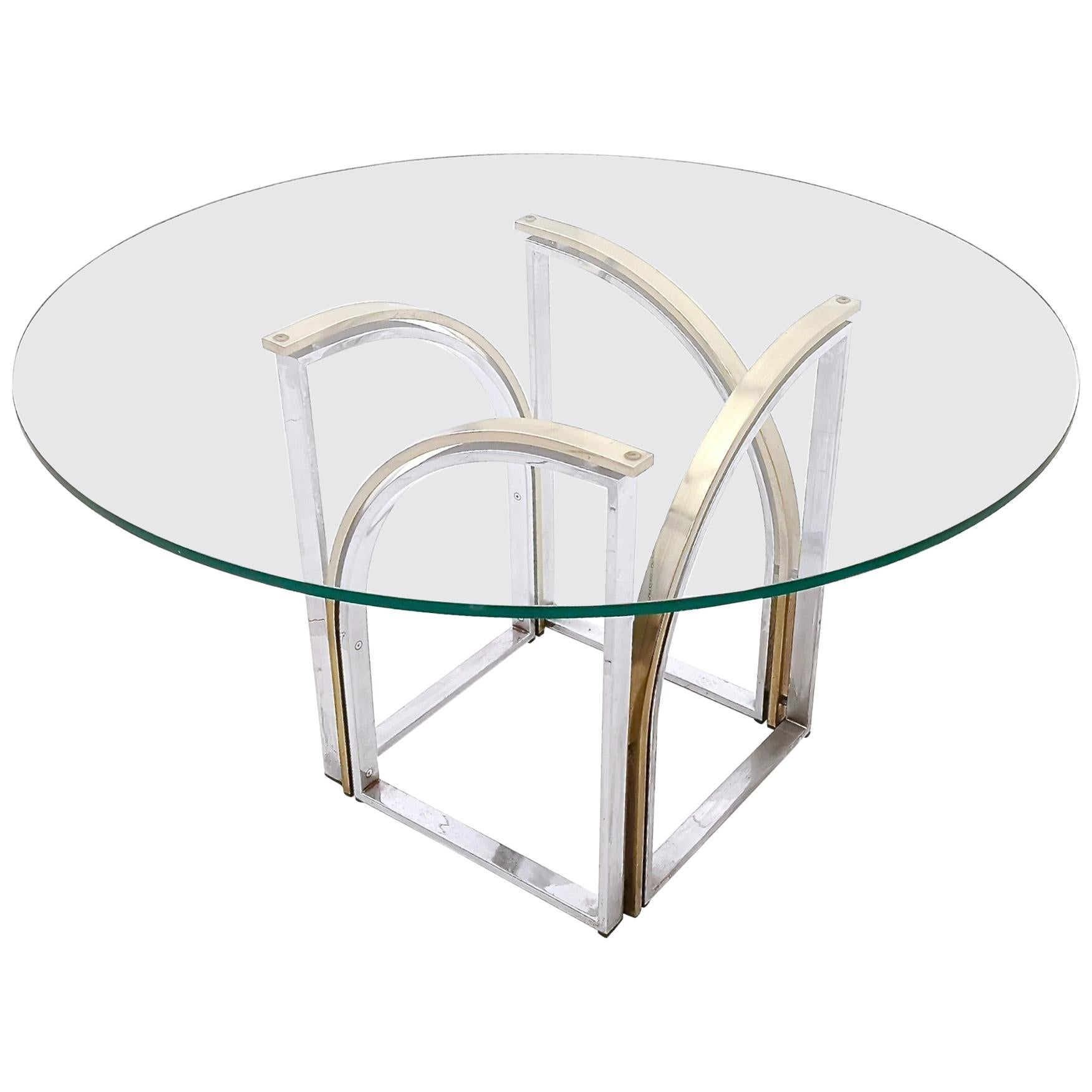 Round Brass and Steel Dining Table by Romeo Rega with Glass Top, Italy, 1970s