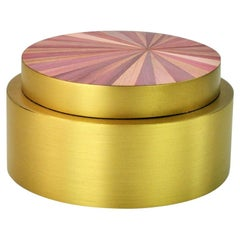 Round Brass Box with a Pink Straw Marquetry Lid by Ginger Brown