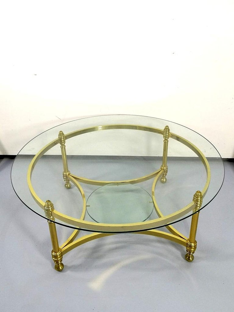 Mid-Century Modern Round Brass Coffee Table with Glass Top and Shelf, 1970s For Sale
