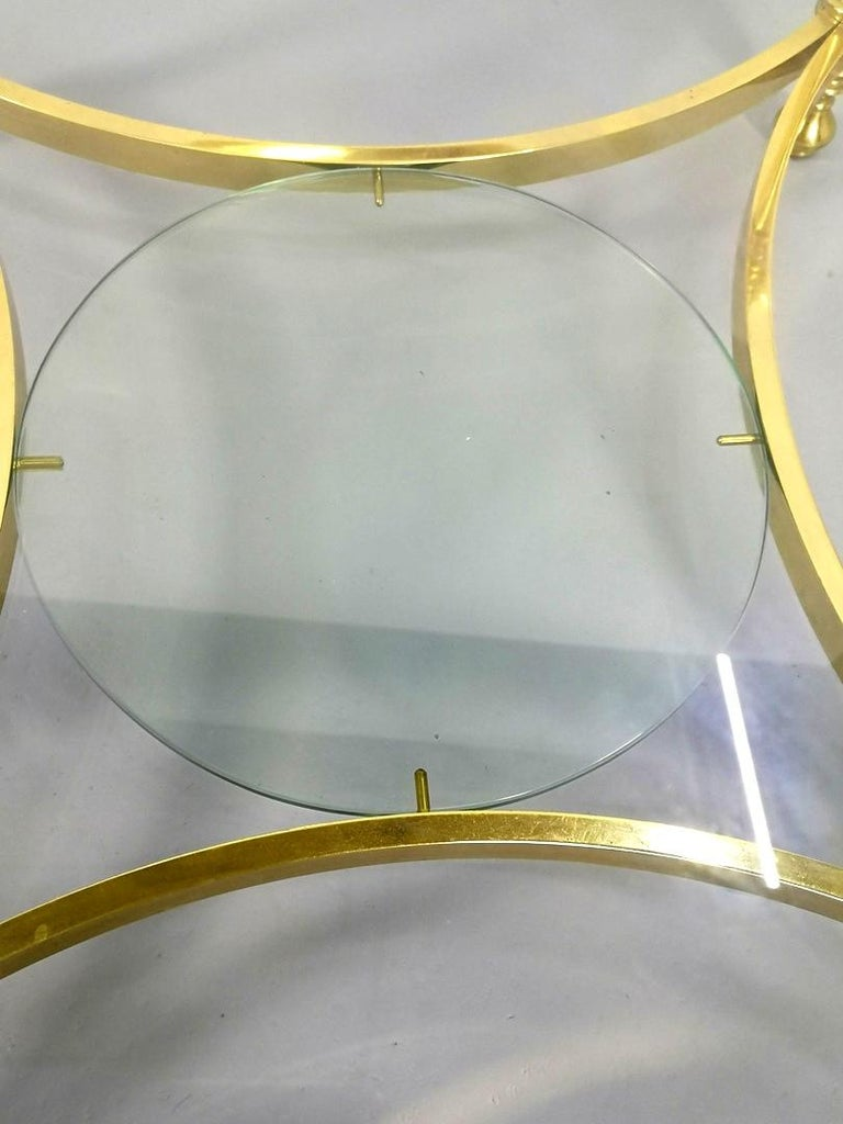 Round Brass Coffee Table with Glass Top and Shelf, 1970s For Sale 1