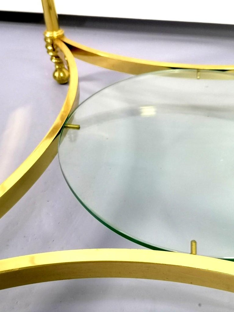 Round Brass Coffee Table with Glass Top and Shelf, 1970s For Sale 4