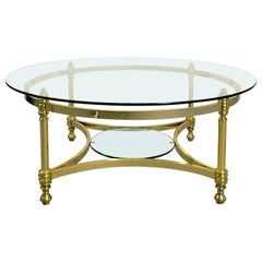 Round Brass Coffee Table with Glass Top and Shelf, 1970s