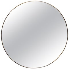 Round Brass Framed Gio Ponti Style Mirror