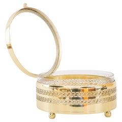 Round Brass, Glass Box for Cookies Vienna Around 1920s