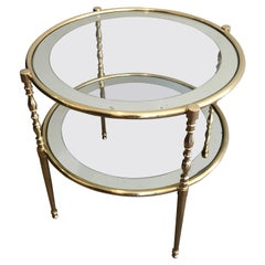 Round Brass Side Table with Glass Shelves Surrounded by a Silvered Mirror French