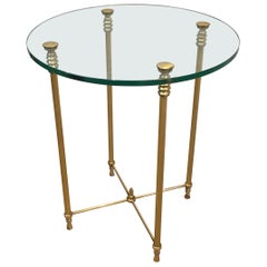Round Brass Side Table with Glass Top, French, circa 1970