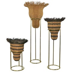 Round Brass Stands with Extra Large Basket Inserts for Plants, Flowers Set of 3