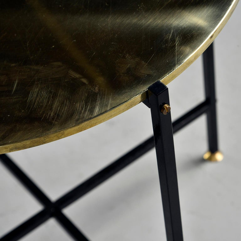 Round Brass Top Side Table with Slender Black Iron Base For Sale 5