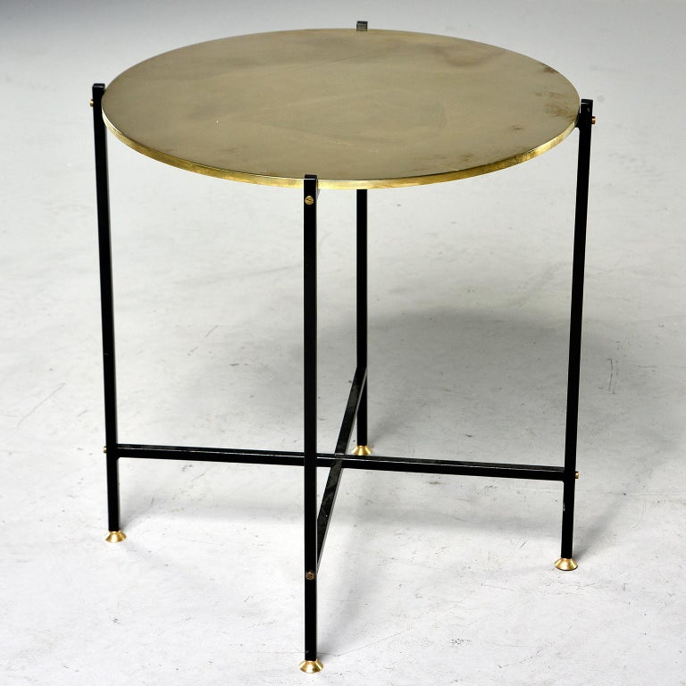 Italian Round Brass Top Side Table with Slender Black Iron Base For Sale