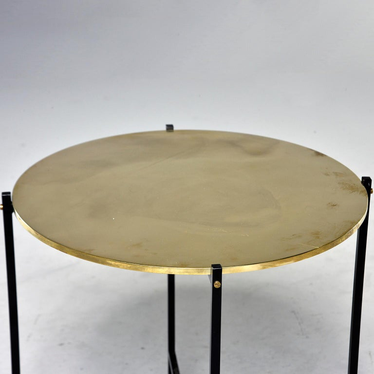 Round Brass Top Side Table with Slender Black Iron Base In Excellent Condition For Sale In Troy, MI