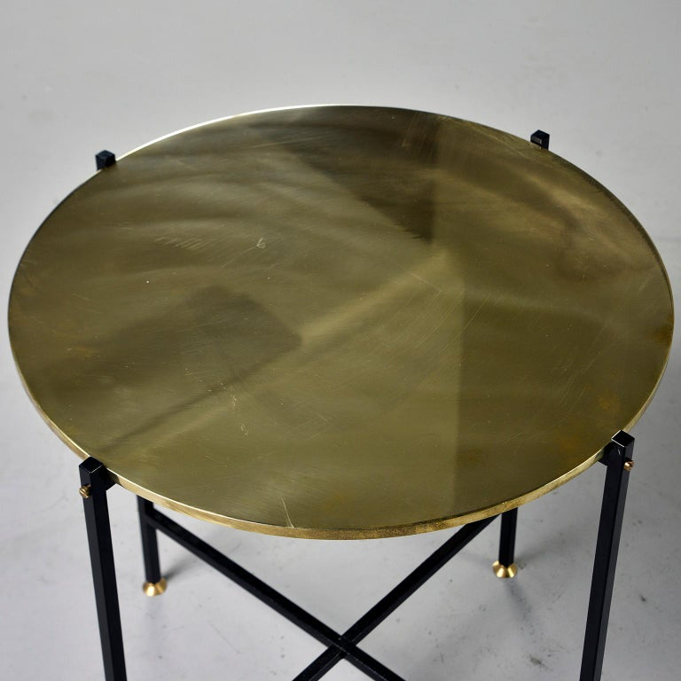 Contemporary Round Brass Top Side Table with Slender Black Iron Base For Sale