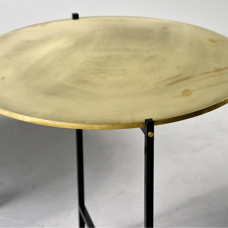 Round Brass Top Side Table with Slender Black Iron Base For Sale 2