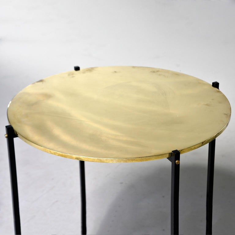 Round Brass Top Side Table with Slender Black Iron Base For Sale 3