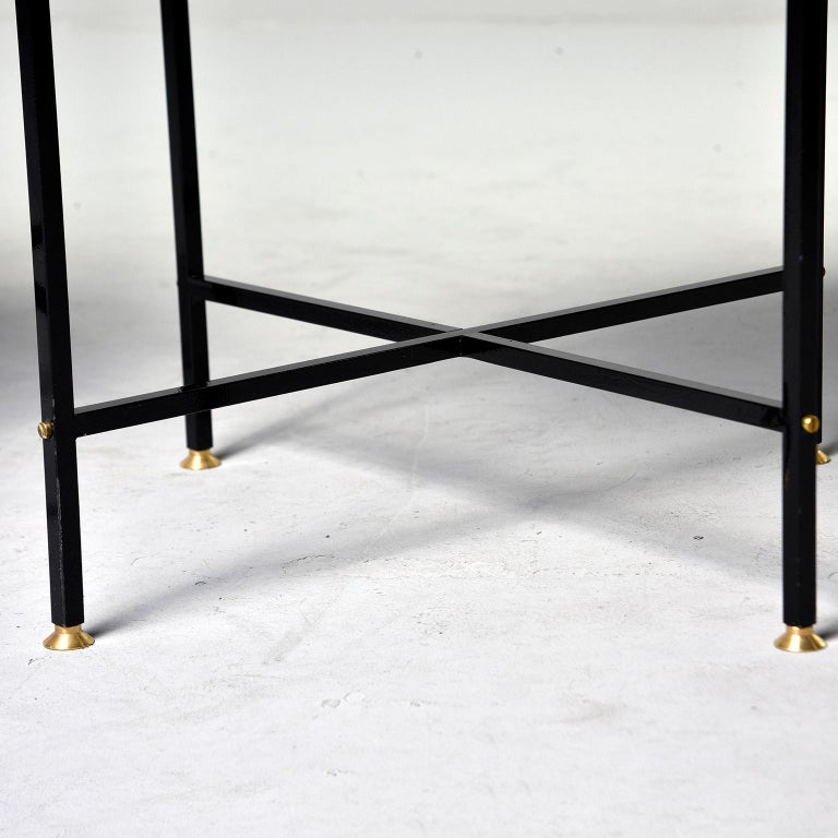 Round Brass Top Side Table with Slender Black Iron Base For Sale 4