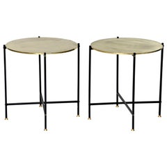 Round Brass Top Side Table with Slender Black Iron Base