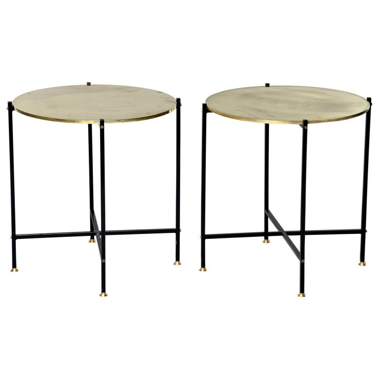 Round Brass Top Side Table with Slender Black Iron Base For Sale