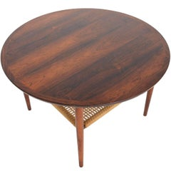 Round Brazilian Rosewood Coffee Table with Rack