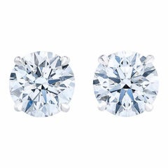 Round Brilliant 4.00 Carat Diamond Stud Earrings with 18 Karat White Gold