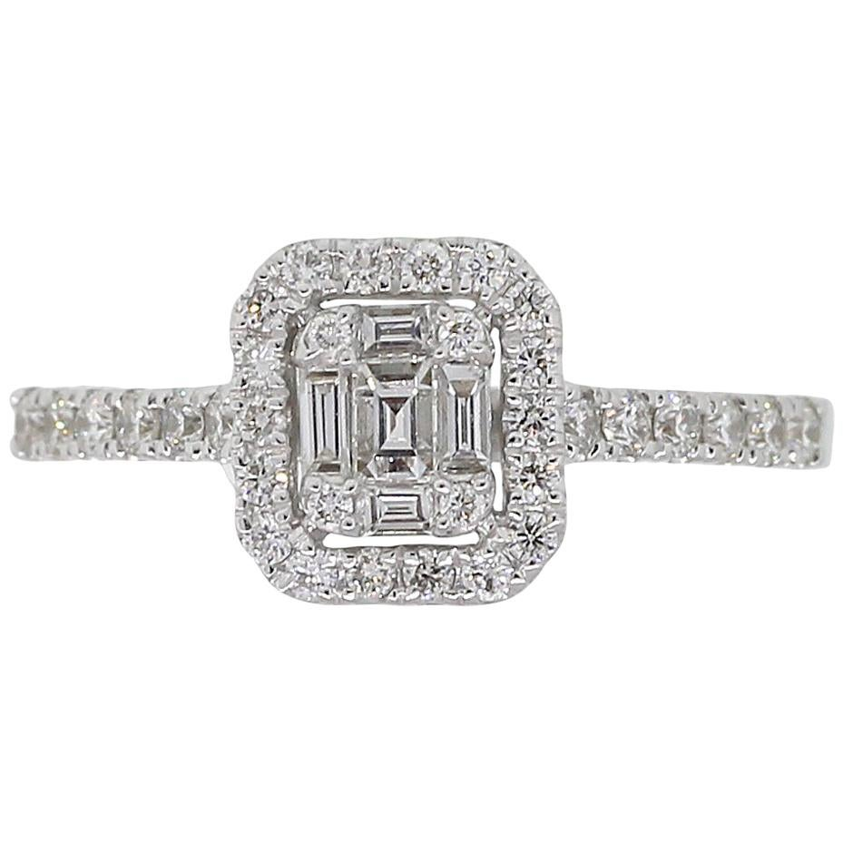 Round Brilliant and Baguette Shape Diamond Cluster Ring