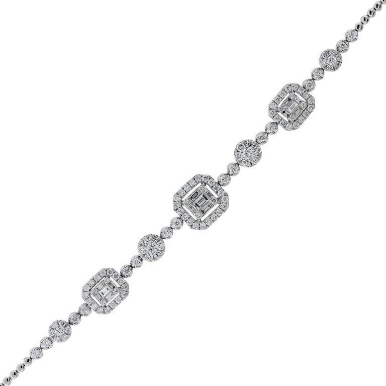 Round Brilliant and Baguette Shape Diamond Mosaic Bracelet