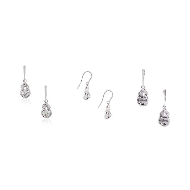 Round Brilliant Bezel Set Diamond Dangle Earrings In Excellent Condition For Sale In Boca Raton, FL