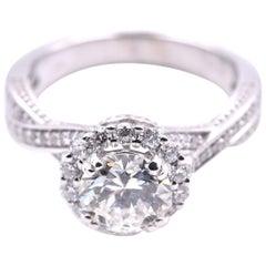 Round Brilliant Cut 1.14 Carat Diamond 14 Karat White Gold Engagement Ring