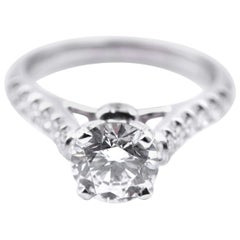 Round Brilliant Cut 1.41 Carat Diamond 18 Karat White Gold Engagement Ring