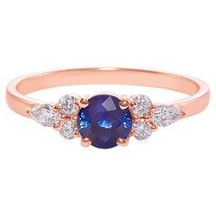 Round Brilliant Cut Blue Sapphire and Pear Shape Diamond Engagement Ring