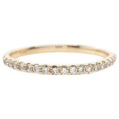 Round Brilliant Cut Diamond 14 Karat Yellow Gold Wedding Band Ring
