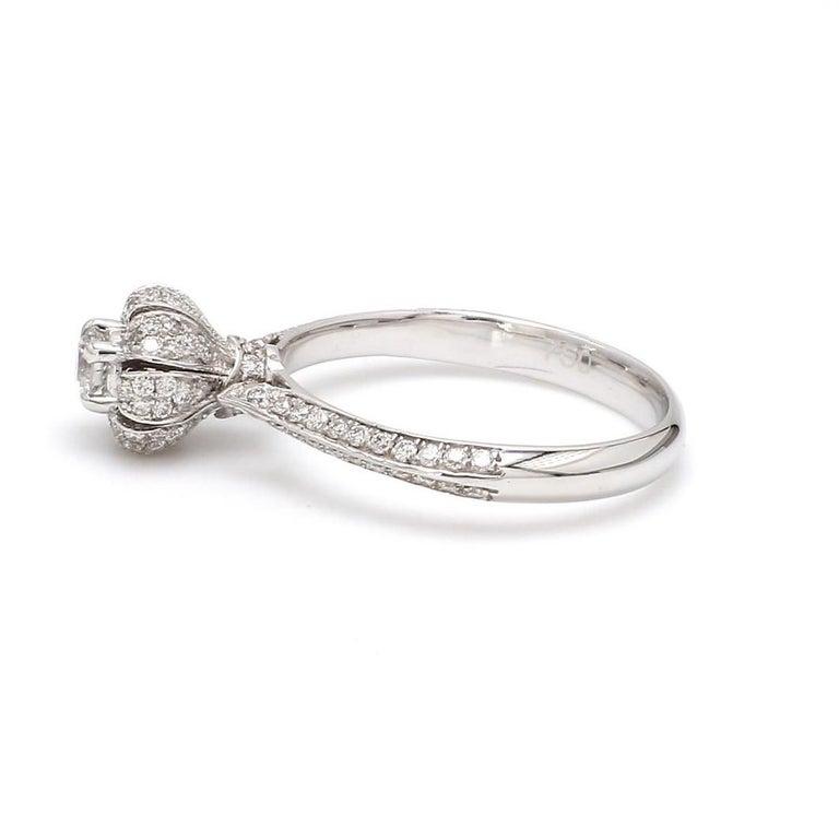 Round Cut Round Brilliant Cut Diamond 18 Karat White Gold Wedding Ring For Sale