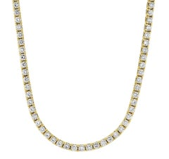 Round Brilliant Cut Diamond Classic Line Necklace in 18 Carat Yellow Gold