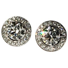 Round Brilliant Cut Diamond Earrings Studs With Pave Halo on 18k White Gold