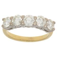 Round Brilliant Cut Diamond Five-Stone Engagement /Dress Ring in 18 Karat Gold
