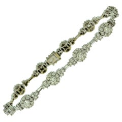 Round Brilliant Cut Diamond Halo Chain Link Bracelet in 18 Karat White Gold
