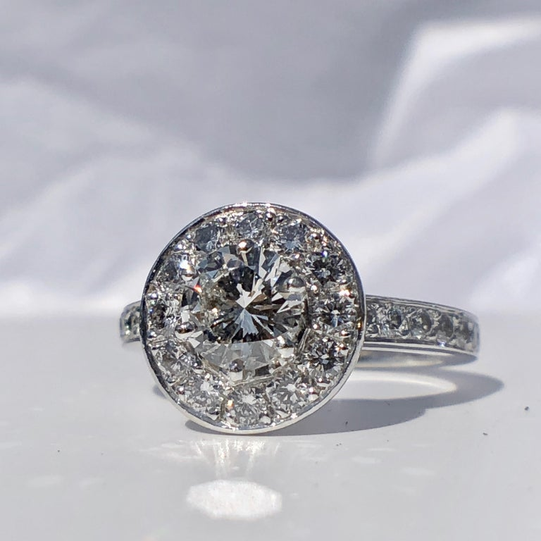 Modern Round Brilliant Cut Diamond Halo Engagement 18k White Gold 1.20ct Ring  For Sale