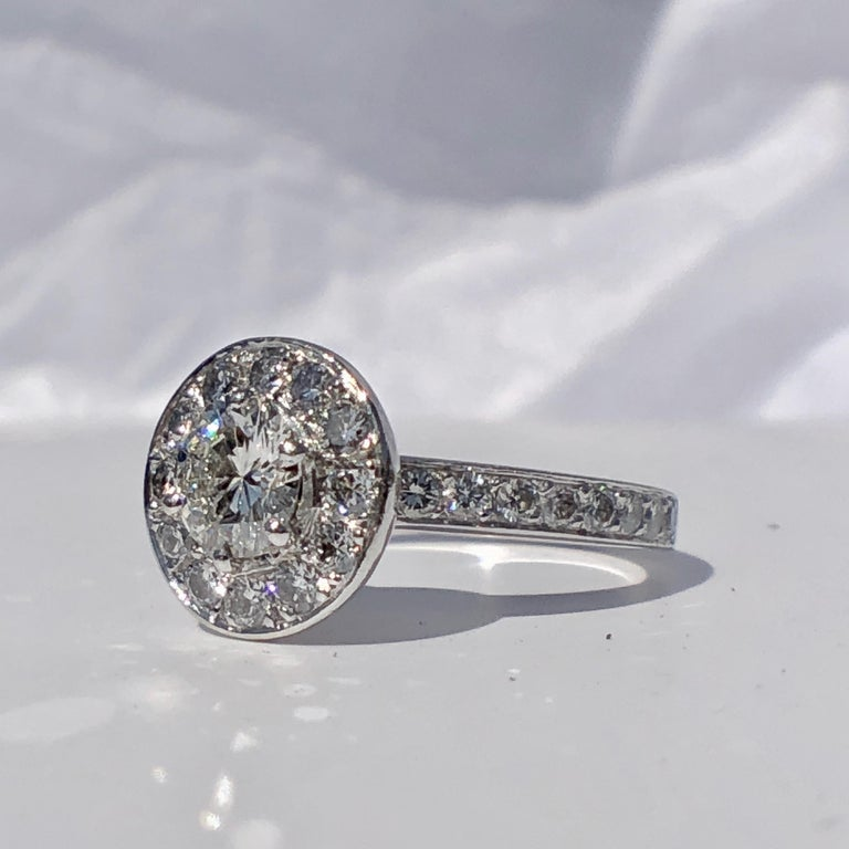Round Cut Round Brilliant Cut Diamond Halo Engagement 18k White Gold 1.20ct Ring  For Sale