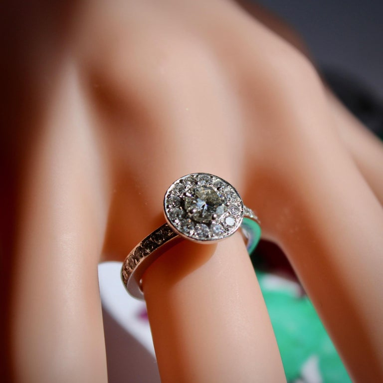 Round Brilliant Cut Diamond Halo Engagement 18k White Gold 1.20ct Ring  For Sale 2