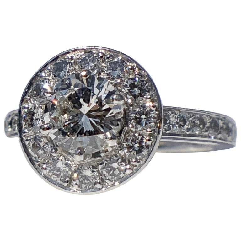 Round Brilliant Cut Diamond Halo Engagement 18k White Gold 1.20ct Ring  For Sale