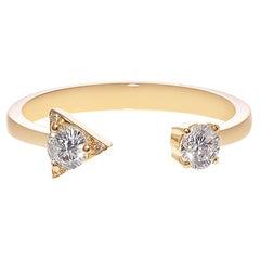 Round Brilliant Cut Diamond Open Engagement Mixed Cuff Minimalist Ring