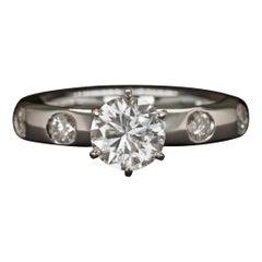Round Brilliant Cut Diamond Platinum 1.05 Carat E/F Color