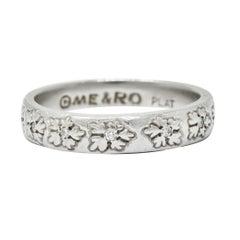 Round Brilliant Cut Diamond Platinum Floral Eternity Band Stacking Ring