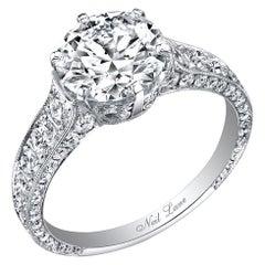 Neil Lane Couture Round Brilliant-Cut Diamond, Platinum Ring