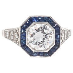 Round Brilliant Cut Diamond Sapphire Platinum Engagement Ring